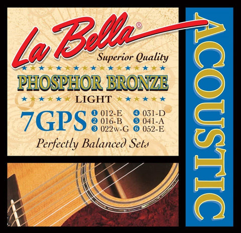 La Bella 7GPS 12-52, Acoustic Guitar Strings - Light - CBN Music Warehouse