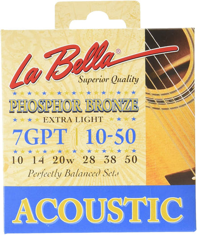 La Bella 7GPT 10-50 Acoustic Guitar Strings - Phosphor Bronze - CBN Music Warehouse