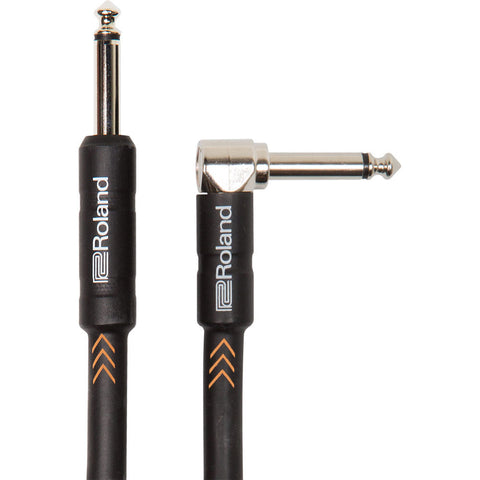 "Roland Black Series 5ft 1/4"" Plug to 1/4"" Right-Angle Plug Instrument Cable - CBN Music Warehouse"