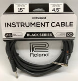 Roland RIC-B15A Black Series 15ft Instrument Cable - ANG/STRT 1/4' JACK RIC-B15A - CBN Music Warehouse