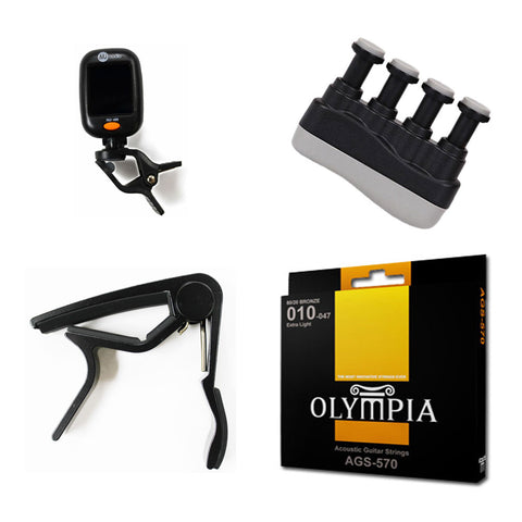 Acoustic Guitar Accessories Bundle- Capo, Strings, Clip-on Chromatic Tuner, & Finger Exerciser - CBN Music Warehouse