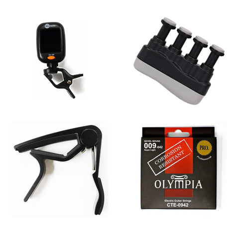 Electric Guitar Accessories Bundle - Capo, Strings, Clip-on Chromatic Tuner, & Finger Exerciser - CBN Music Warehouse