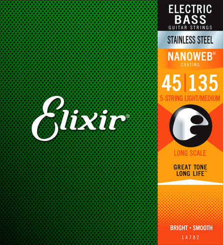 Elixir 14782 Stainless Steel Nanoweb Coated 5 String Bass Strings Light Medium 45-135