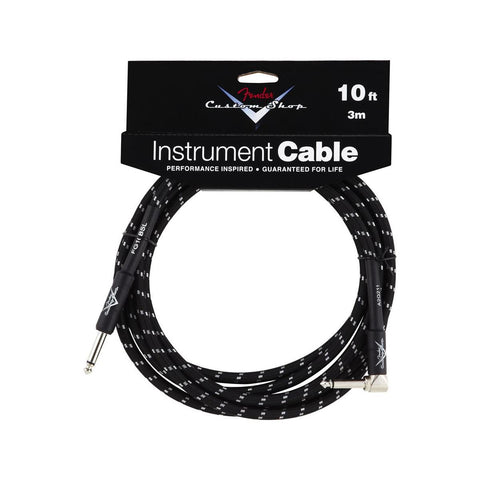 Fender Custom Shop Performance Series 10ft 3M Instrument Cable, Angled, Black Tweed - CBN Music Warehouse