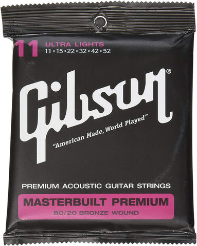 Gibson Accessories SAG-BRS11 Masterbuilt Premium 80/20 Bronze Ultra Light Acoustic Guitar Strings - CBN Music Warehouse