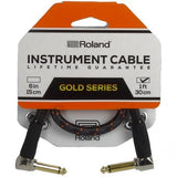 "Roland 1ft Instrument Cable, Angled/Angled 1/4"" jack, Gold series (RIC-G1AA) - CBN Music Warehouse"