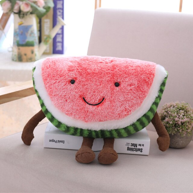 Winston Watermelon Plush Stuffed Fruit Toy Cute Smile Furry Plushie