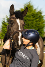Load image into Gallery viewer, Horse rider kissing bay horse - Paddock Equestrian Apparel