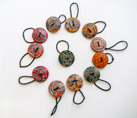 Gourd carved and dyed Hair Ties - Fair Trade