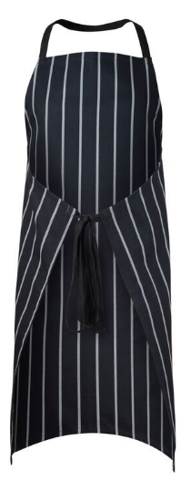 Full Bib Apron Cafe Stripe - Navy/White