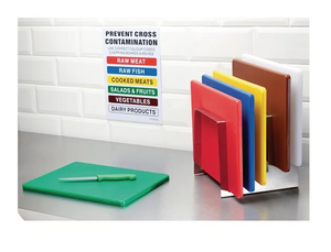 Cutting Board Set (6pk) with Rack & Wall Chart - Colour Coded