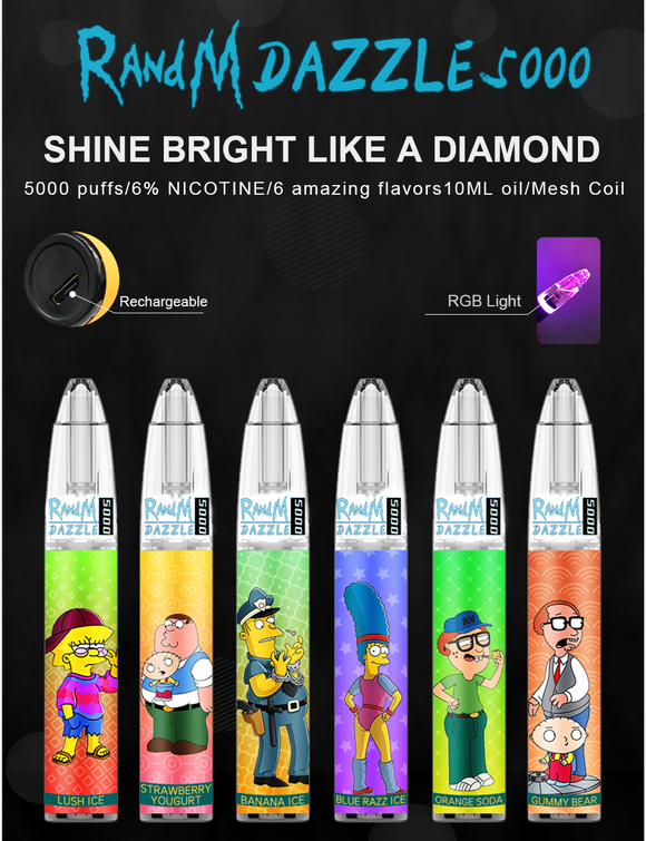 RandM Dazzle 5000 RGB Light Glowing Disposable Vape 650mAh Rechargeable