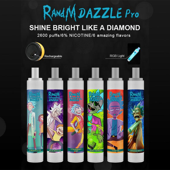 RandM Dazzle Pro Led Light Glowing 2600puffs Disposable Vape Pod