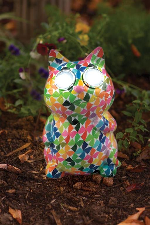 Garden Accent - Colorful Cat LED Stone
