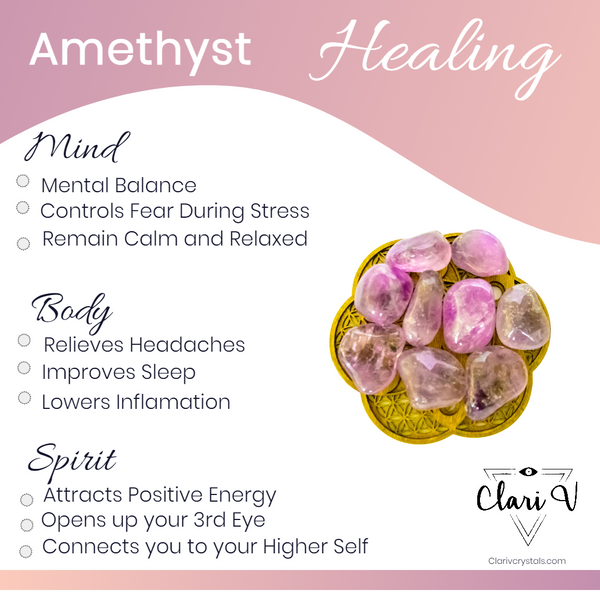 Information on how amethyst crystal heals the mind, body and spirit
