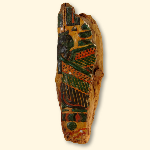 Egyptian coffin wood shard painted with malachite crystal