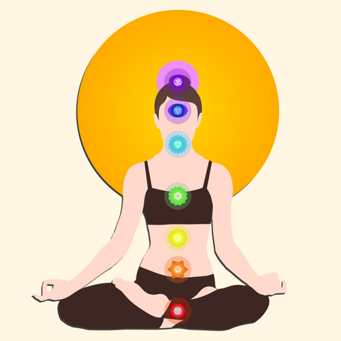 Woman meditating with chakras showing