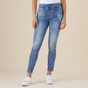Tie Front Gathered Jeans - Vault Country Clothing