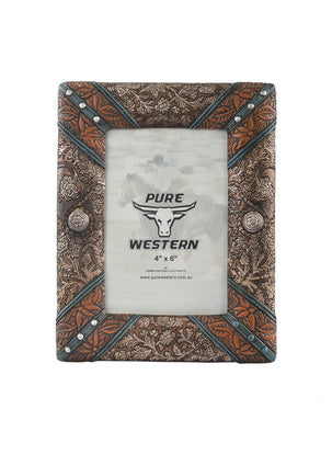 Leather Look Concho Picture Frame - Vault Country Clothing