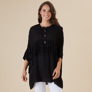 Frilled Oversize Shirt - Vault Country Clothing