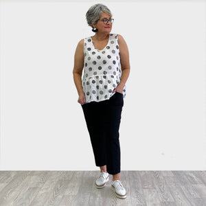 Clarity Spot Peplum Sleeveless Top