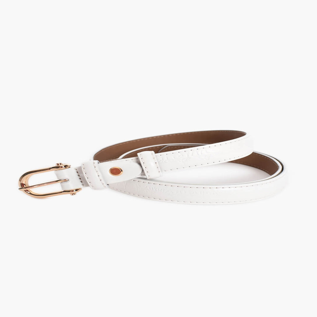 Metal Buckle Vegan Croc Belt