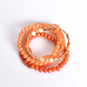 Adorne Natural Stone & Bead Multi Bracelet Set
