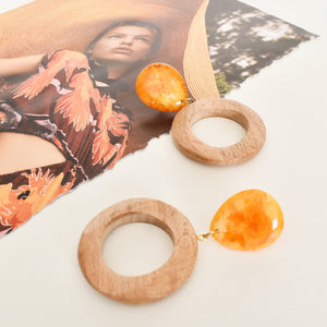 Lexie Resin Top Timber Ring Earrings - Vault Country Clothing