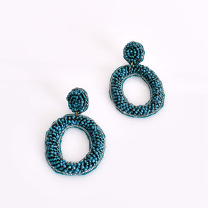 Beaded Oval Drop Earrings