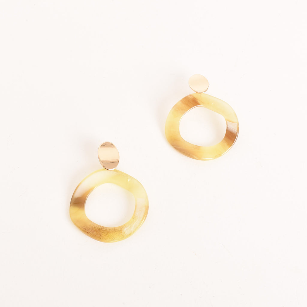 Resin Contrast Oval Cut Out Earrings