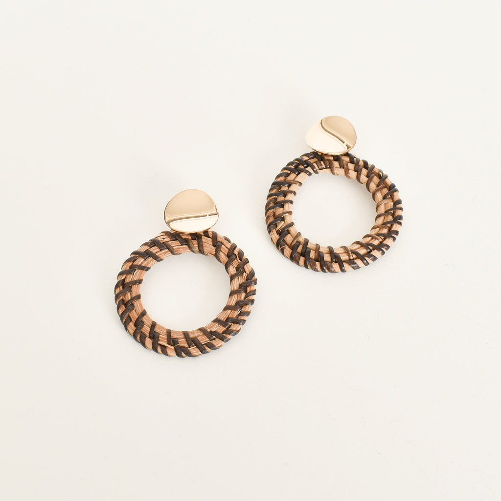 Weave Rattan Ring Earrings