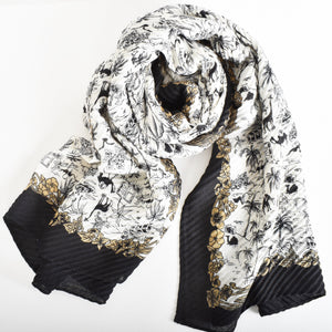 Pleated Jungle Print Scarf - Vault Country Clothing
