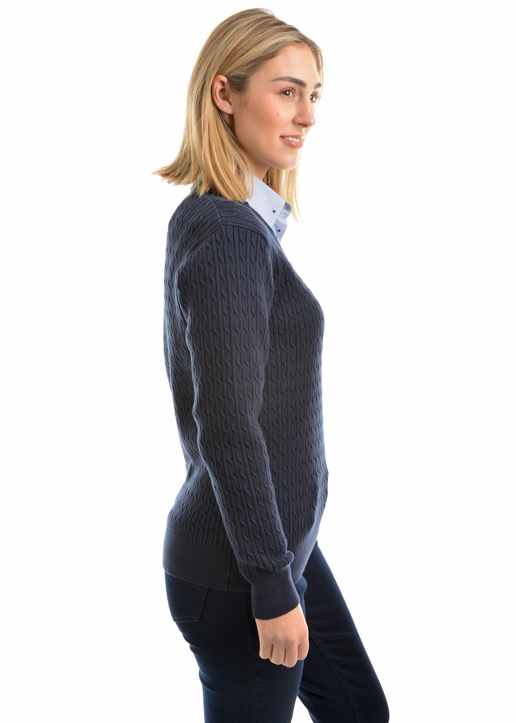 V Neck Fine Cable Jumper
