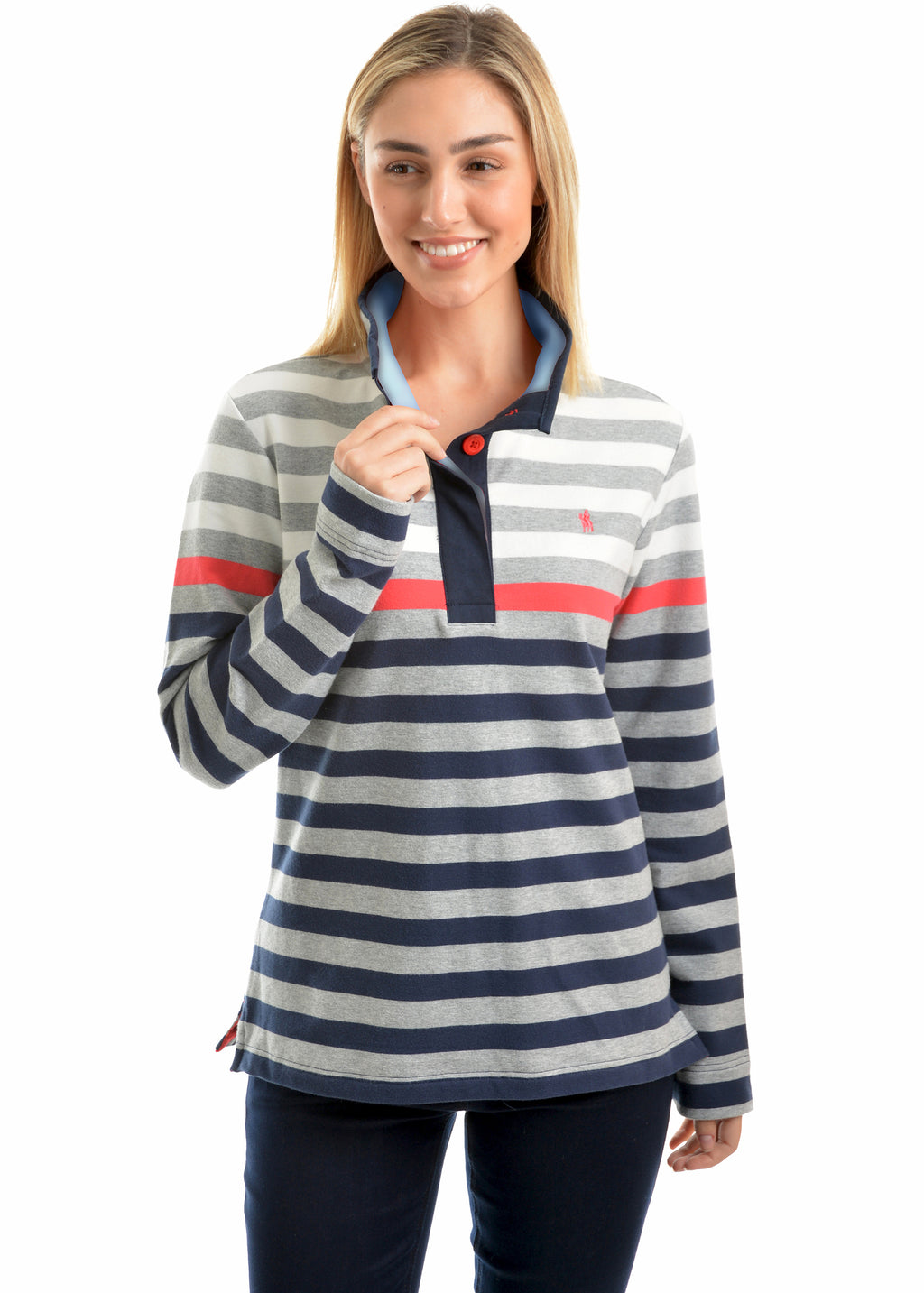Isabella Stripe Button Up Rugby