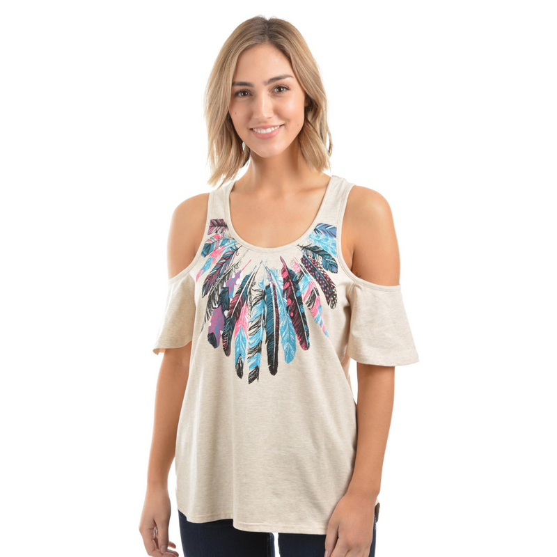 Viola Cold Shoulder Top - Vault Country Clothing