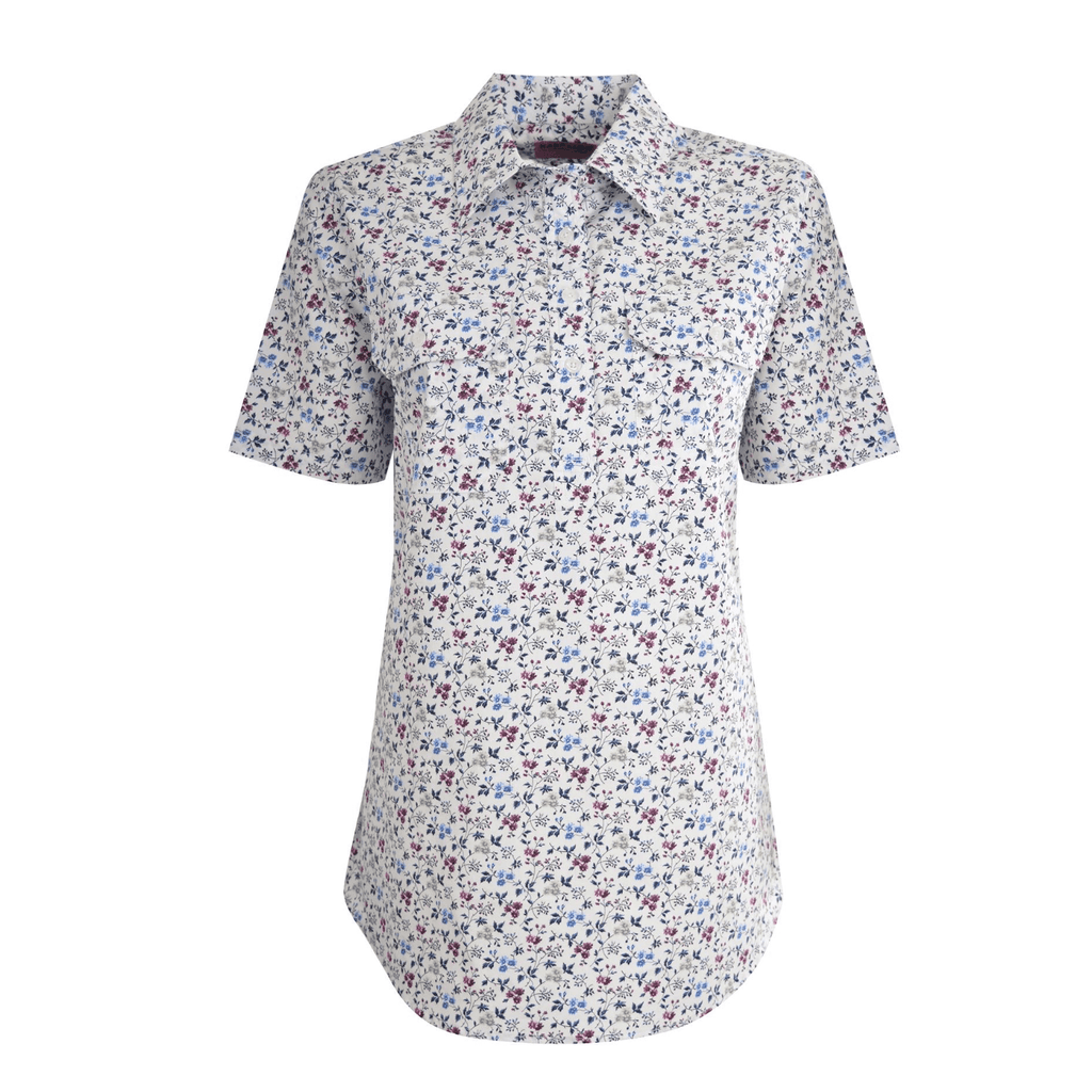 Women's Print Half Placket S/s Shirt