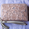 Hand Tooled Rose Zip Round Wallet