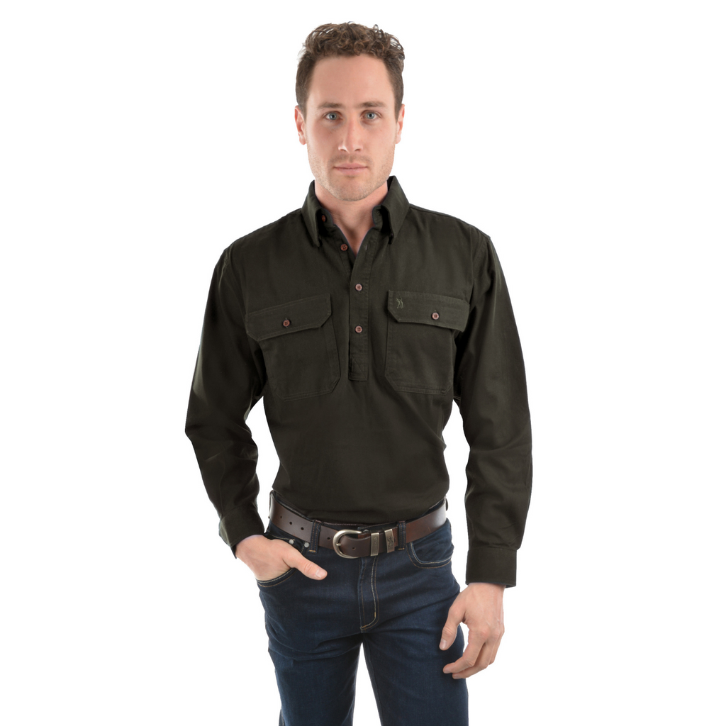 Heavy Cotton Drill 1/2 Placket Shirt