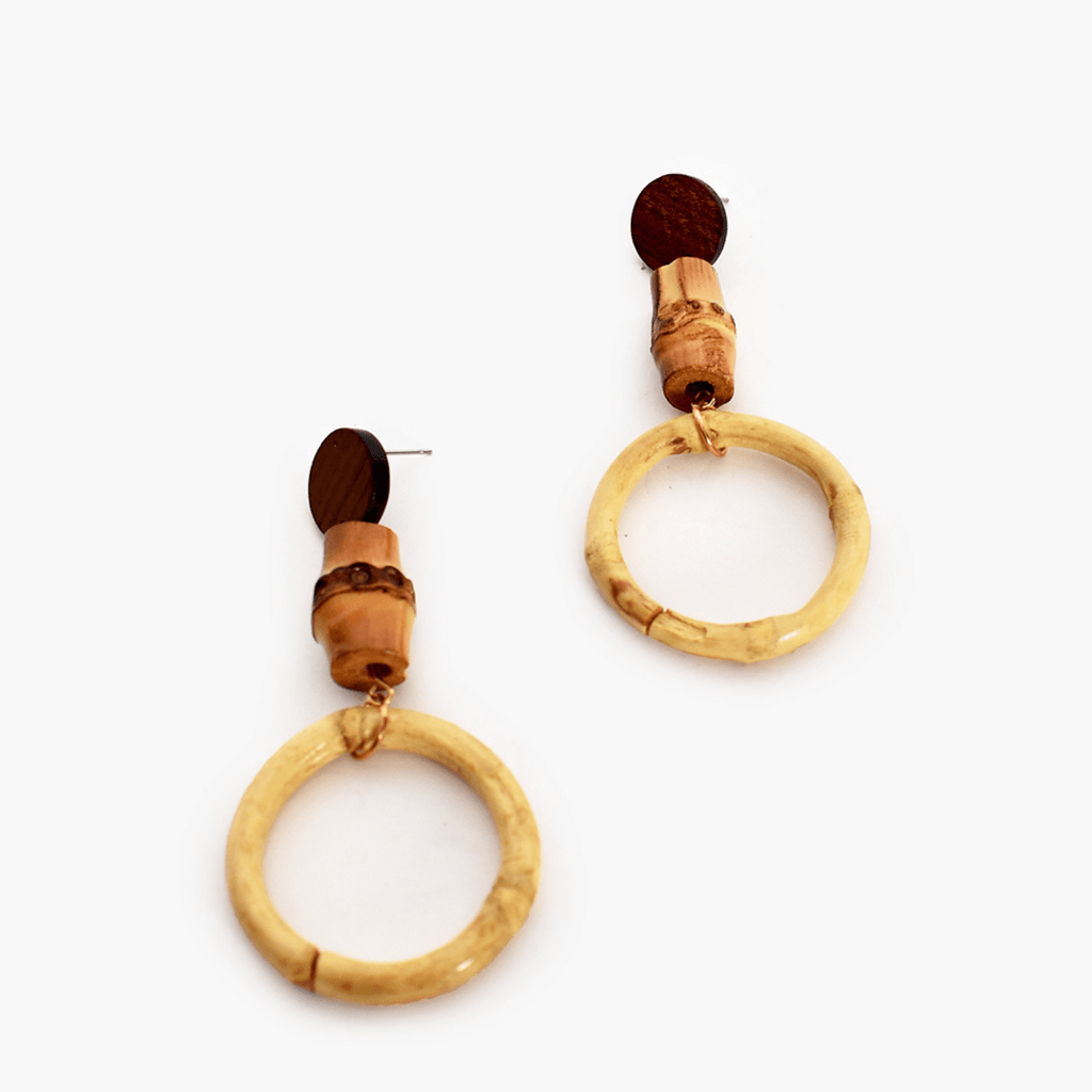 Adorne Bamboo Ring Drop Earrings