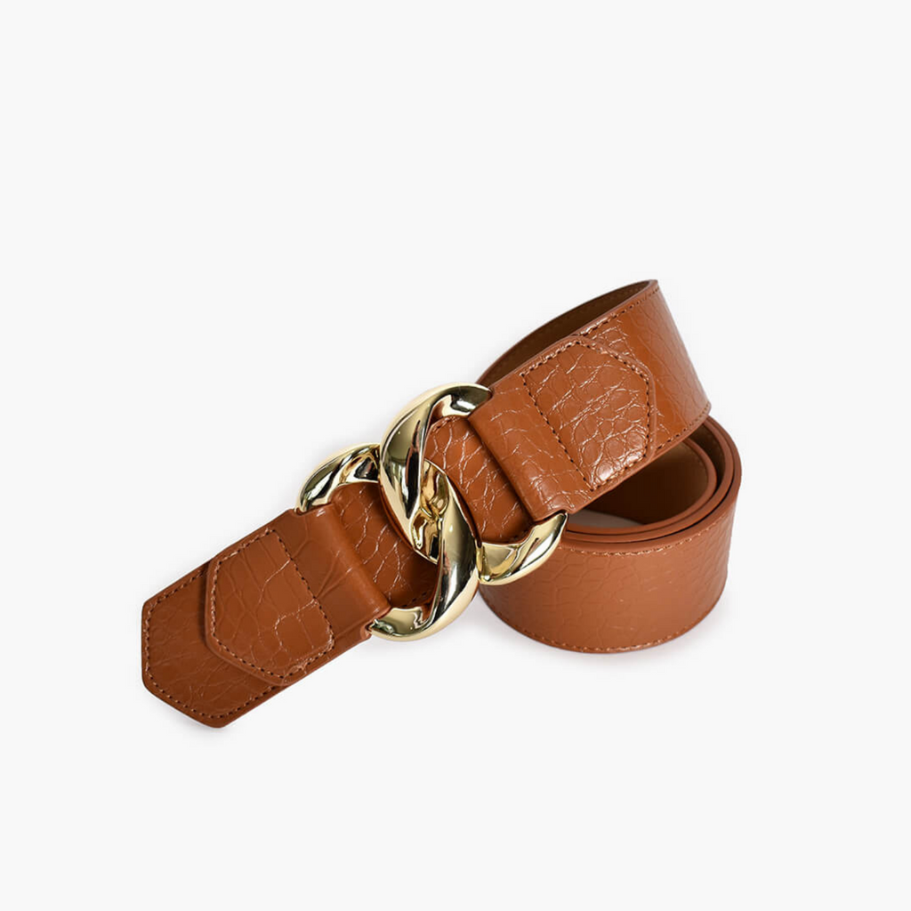 Linked Buckle Front Croc Waist Belt