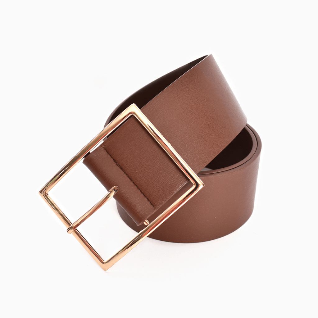 Wide Buckle Vegan Leather Belt
