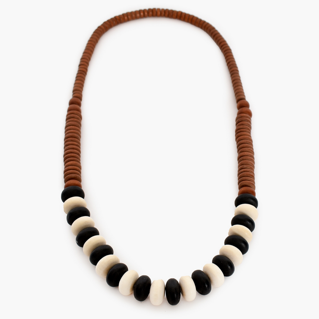 Bead Panels Long Timber Necklace