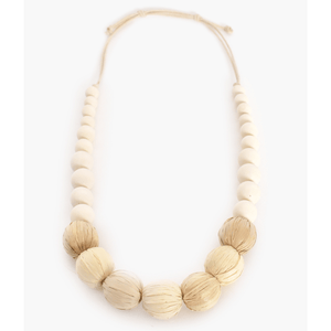 Raffia Wrapped Ball Timber Necklace