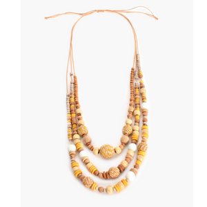 Layered Timber Weave Ball Necklace