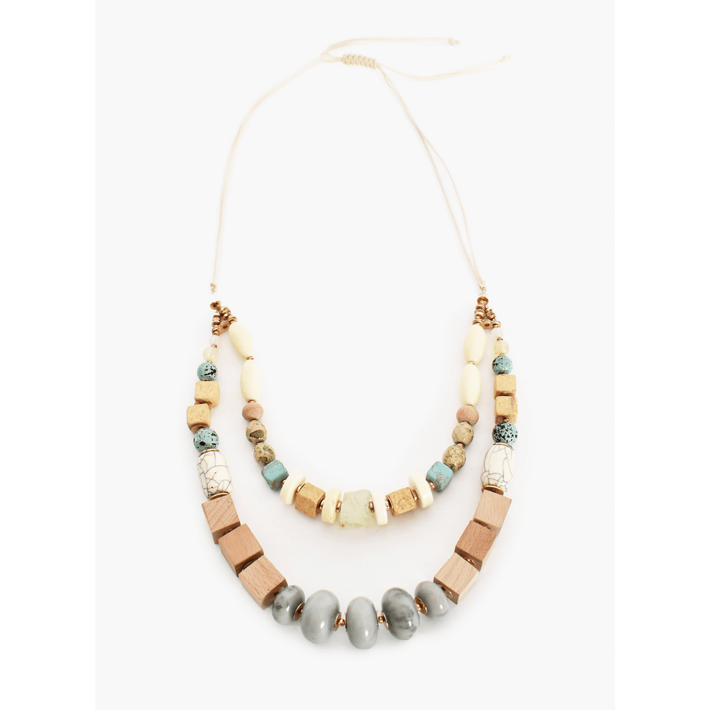 Mixed Timber Stone Layered Necklace