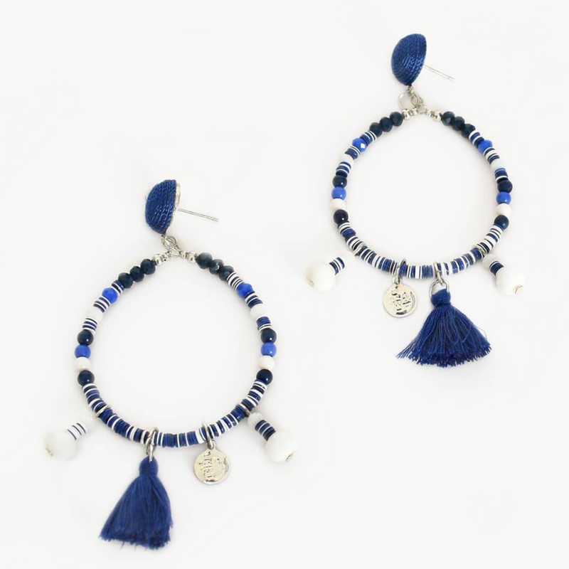 Bead Tassel Hoop Front Earrings