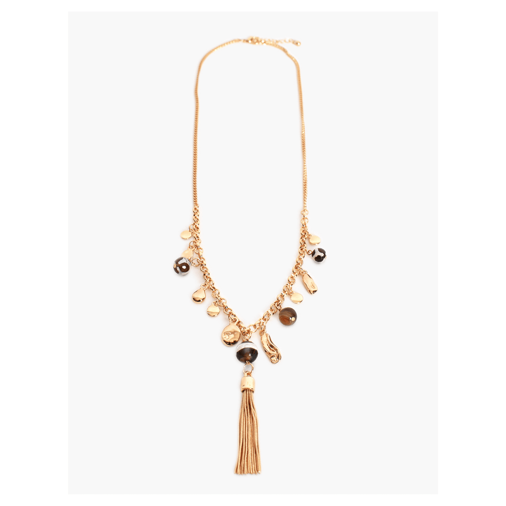Tassel Bead Front Necklace