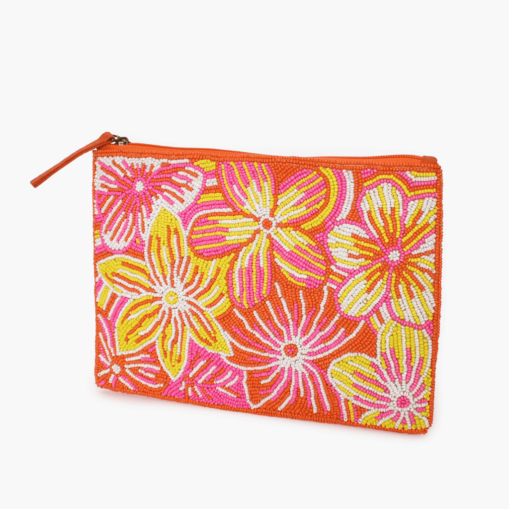 Pretty Floral Beaded Zip Top Clutch