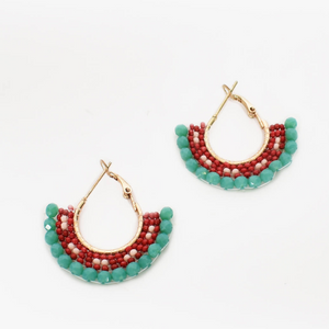 Beaded Skirt Hoop Earrings