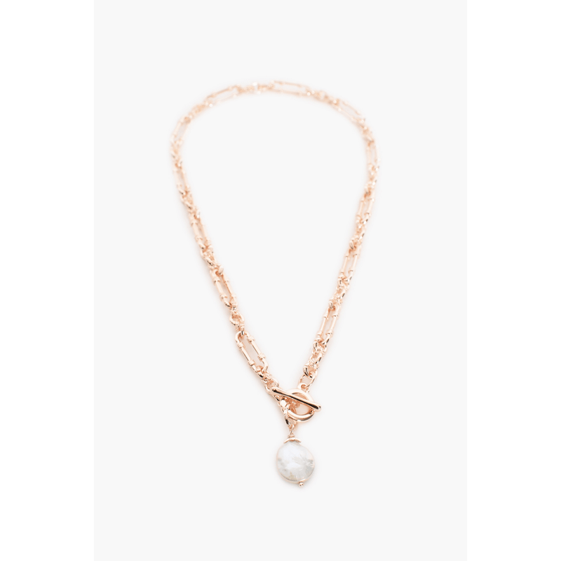 Vintage Chain Pearl Drop Necklace